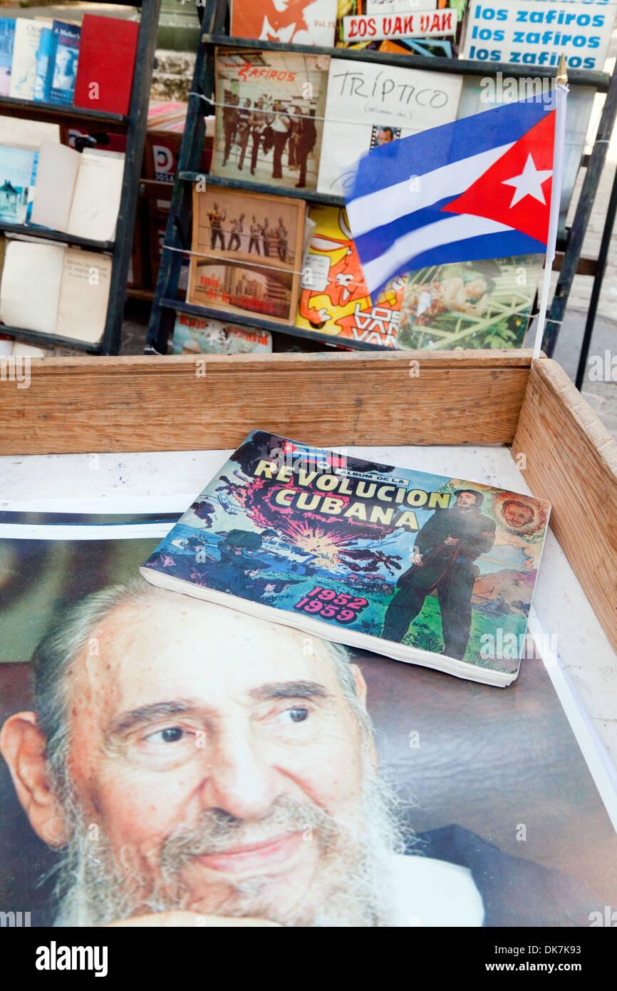 Bücher über die Revolution, kubanische Flagge und Lackierung von Fidel Castro, Place de Armas Square, Stockbild