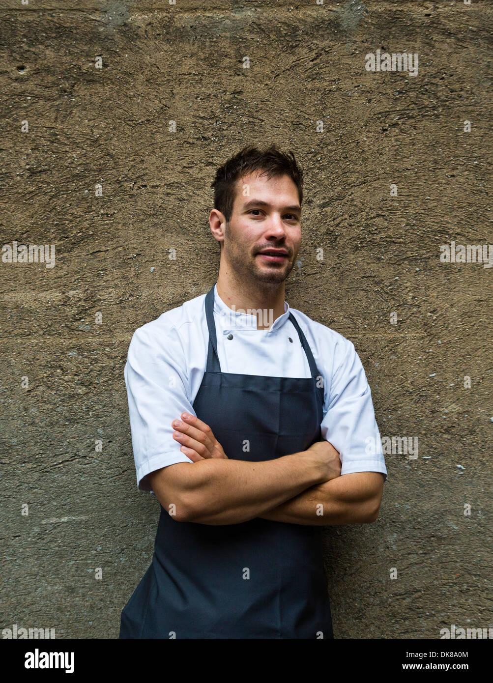 Porträt von Küchenchef Ronny Emborg, AOC Restaurant, Kopenhagen, Dänemark. Stockbild