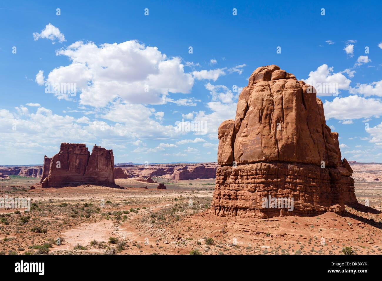 La Sal Mountains Sicht, Arches-Nationalpark, Utah, USA Stockbild