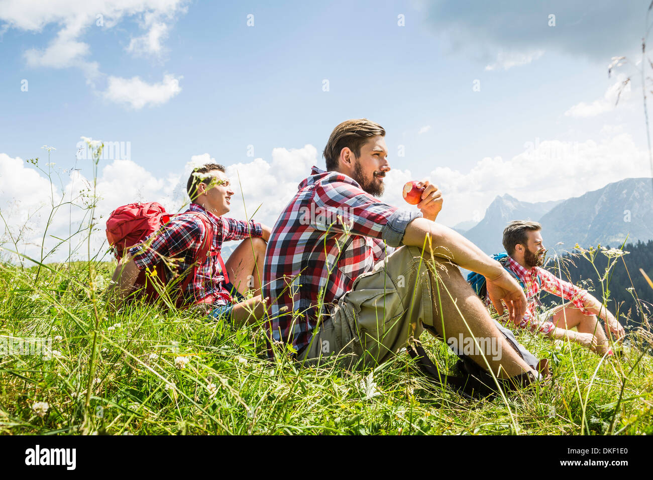 Männliche Freunde ruht auf Wanderung, Tirol, Österreich Stockbild