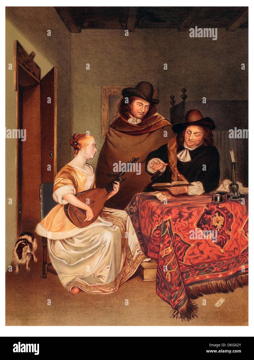 Die Musikstunde, gemalt von Gerard terburg Stockbild