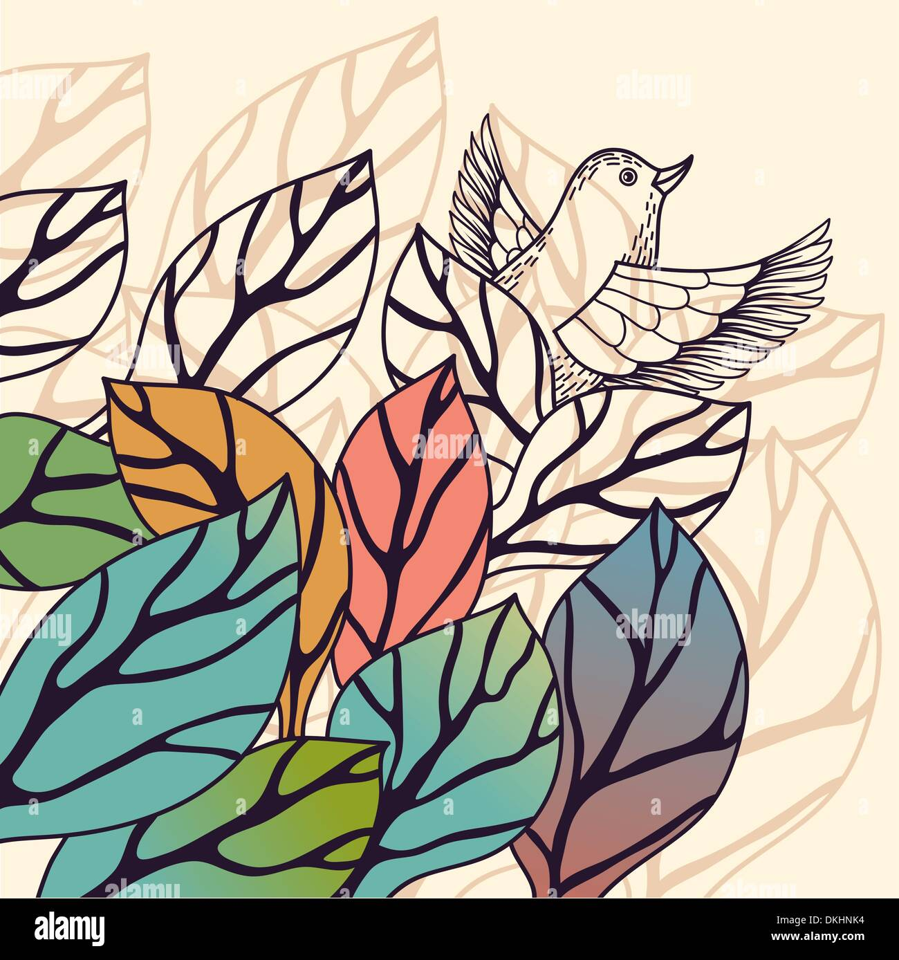 Vektor-Natur-Hintergrund mit bunten Blättern Stockbild