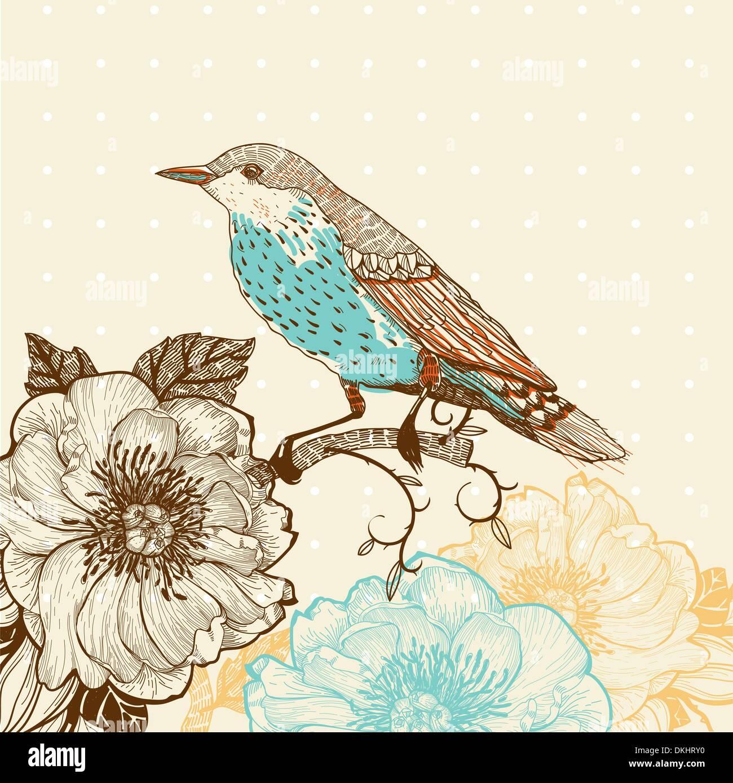 Vektor-Illustration eines Vogels und blühenden Blumen im Vintage-Stil Stockbild
