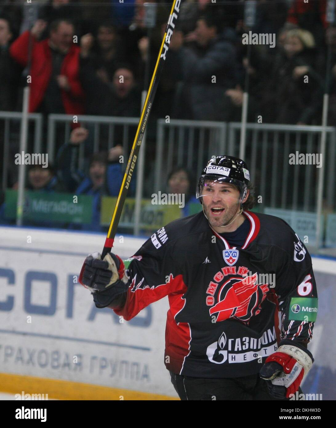 24. November 2009 - Moskau, Russland - ehemalige New York Ranger star JAROMIR JAGR spielt jetzt für internationale professionelle Hockey-Liga KHL (Kontinental Hockey League) mit dem Club Avangard Omsk. (Kredit-Bild: © PhotoXpress/ZUMA Press) Stockbild