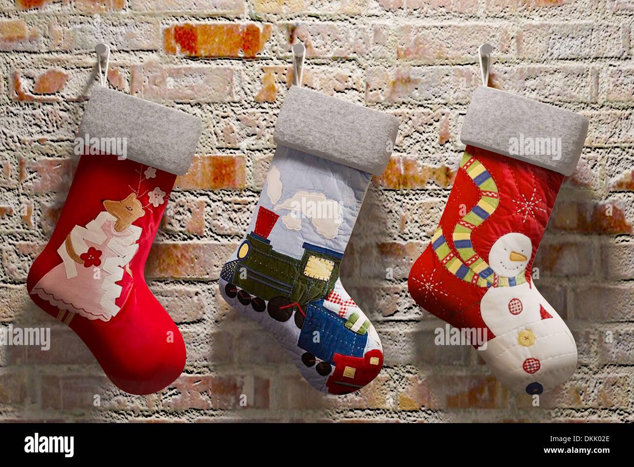 Weihnachten Socken an die Wand hängen Stockfoto, Bild: 63726726 - Alamy