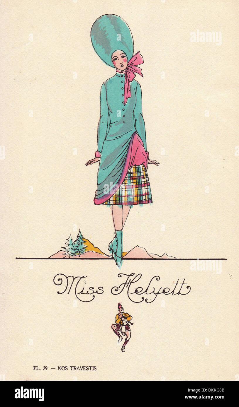 Frau im Kostüm als komischen Operette Star, 1920er Jahre. Stockbild