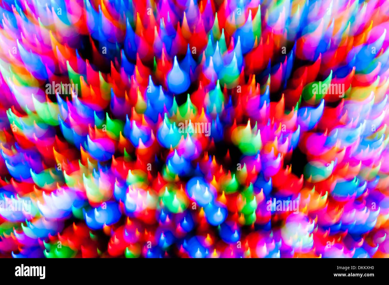 Weihnachtsbaum Lichter Bewegungsunschärfe abstrakt Stockbild