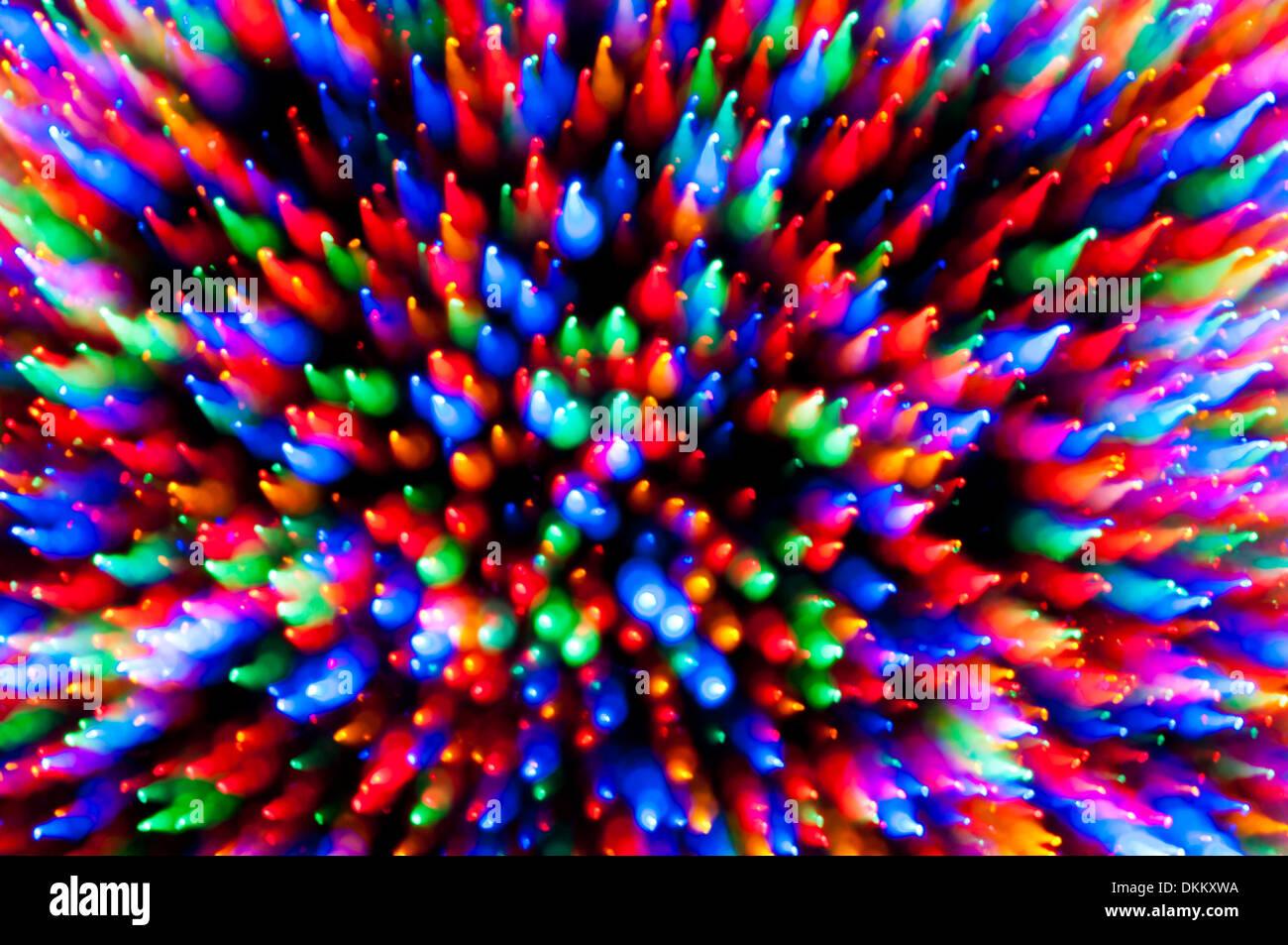 Weihnachtsbaum Lichter Motion Blur Zoom abstrakt Stockbild