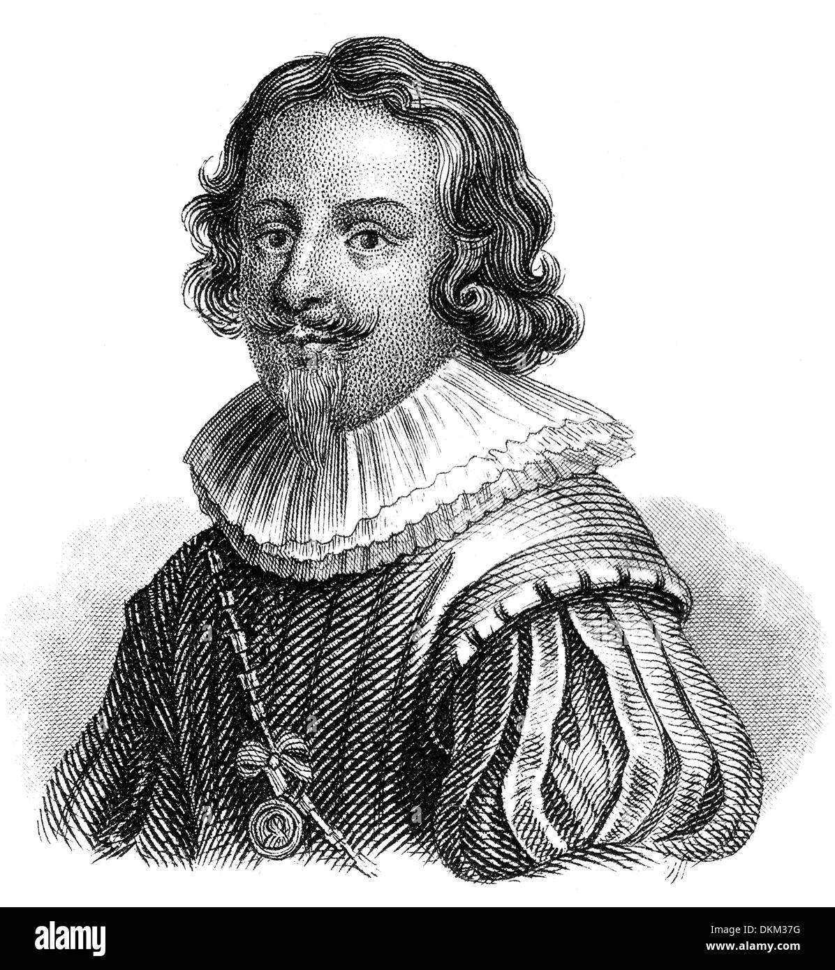 Porträt von Jacques Callot, 1592-1635, eine barocke Grafiker und Zeichner aus dem Herzogtum Lothringen Stockbild