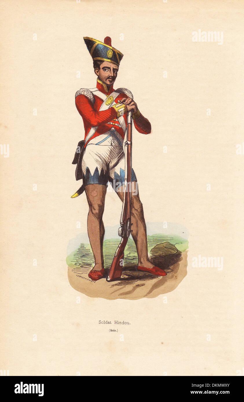 Indische Sepoy der Bengalischen Armee Helm, Shorts und Hausschuhe. Stockfoto