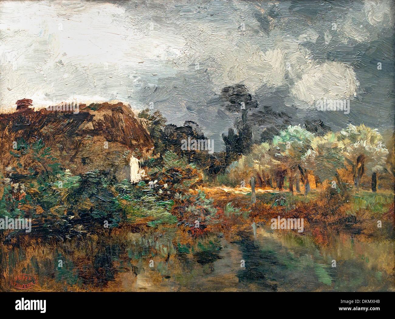 Landschaft-Studie 1860 konstante Troyon 1810-1865 Frankreich Französisch Stockbild