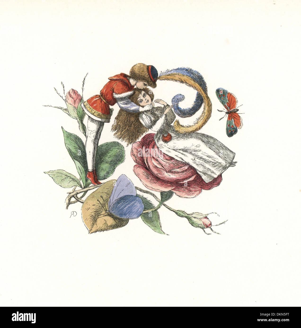 Elf flirten mit einer Fee auf einer Rosenblüte. Stockbild