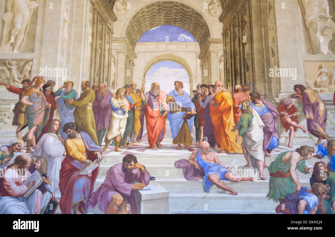 Die Schule von Athen, Zimmer der Signatur, die Stanzen des Raffael, Raphael Stockbild