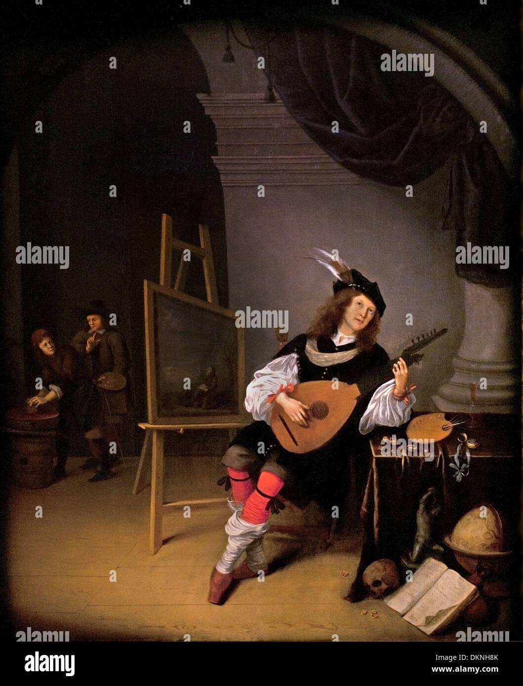 Johannes van Swieten, laute spielender Maler c.1660 Niederlande Niederlande Stockbild