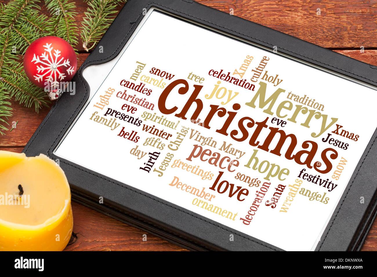 Wolke aus Worten oder Tags im Zusammenhang mit Weihnachten auf einem ...