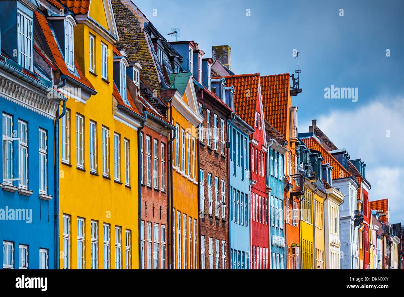 Nyhavn-Gebäude in Kopenhagen, Dänemark. Stockbild