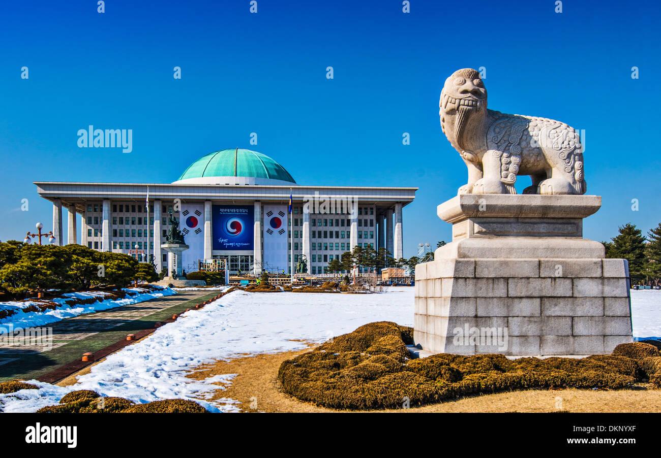 Gebäude der Nationalversammlung der Republik Korea in Seoul, Südkorea. Stockbild