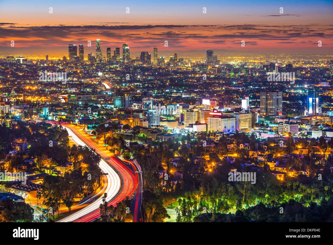 Los Angeles, Kalifornien am Morgen von Mulholland Drive. Stockbild