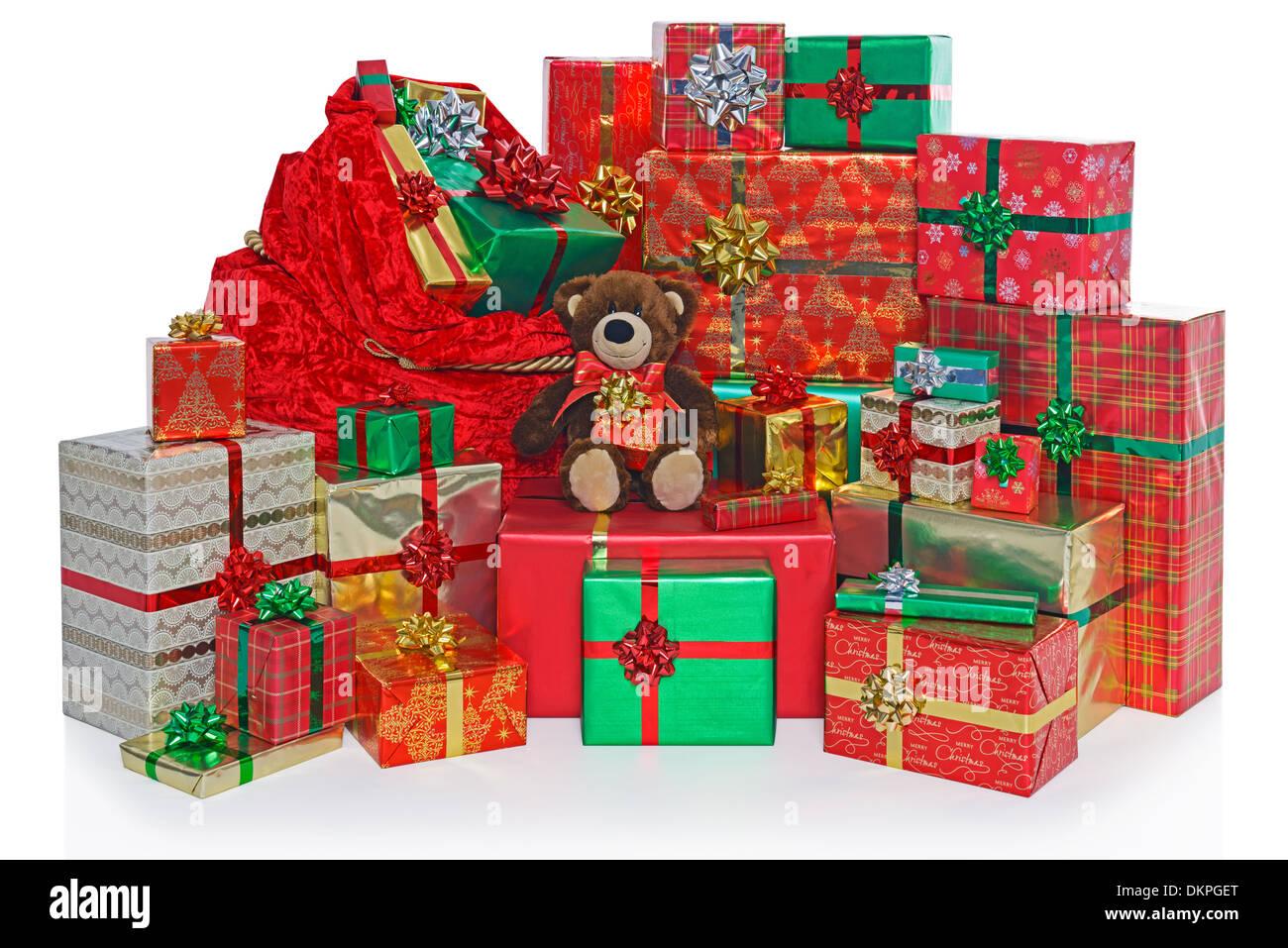 Ein Sack und Gruppe von Geschenk verpackt Weihnachtsgeschenke mit ...