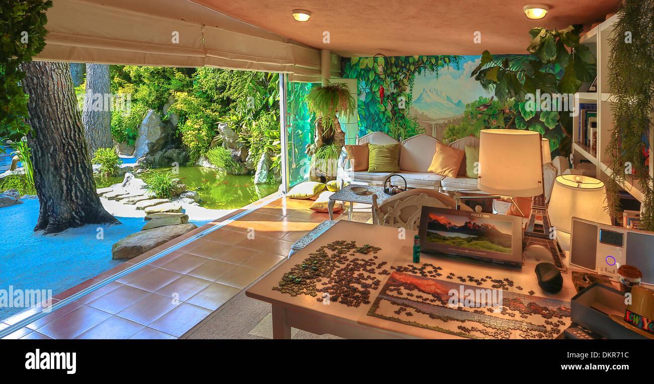Spanien Europa Spielen Zimmer Gartenarchitektur Design Grüne Innere  Natürliche Wandmalerei Pfad Teich Zimmer Sand Steinen Baum