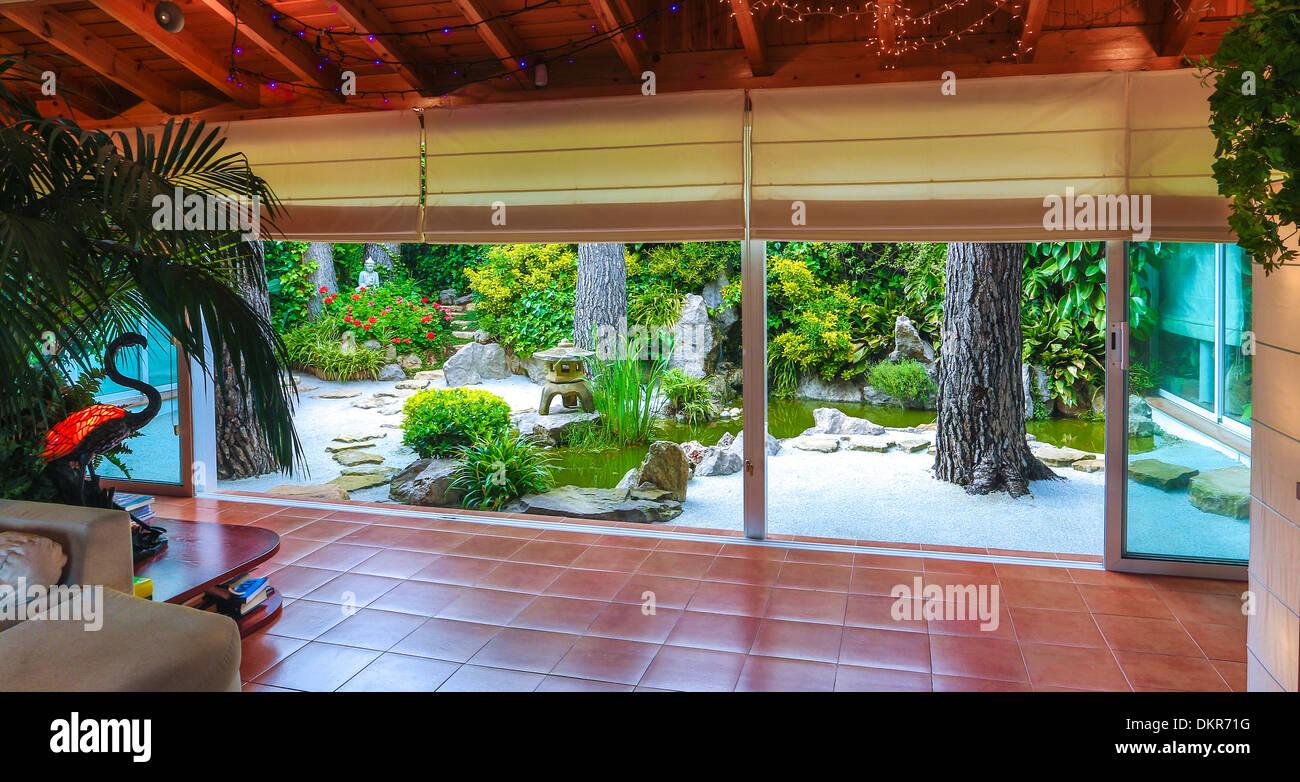 Spanien Europa Inneneinrichtung Architektur Design grün Gartensaal ...