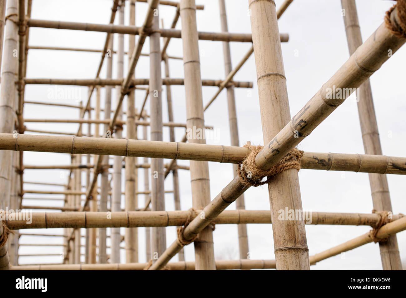 Bambus, Gerüste, IGS Internationale Gartenschau, Wilhelmsburg, Hamburg, Deutschland Stockbild