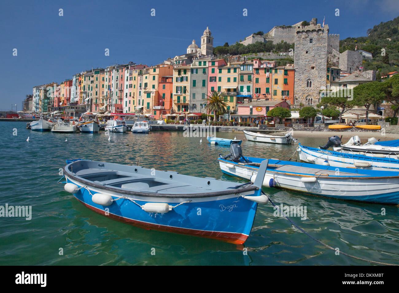 Europa, Dorf, Meer, Portovenere, Boote, Italien, UNESCO, Welterbe, Küste, Cinqueterre, Mittelmeer, Meer, Stockbild