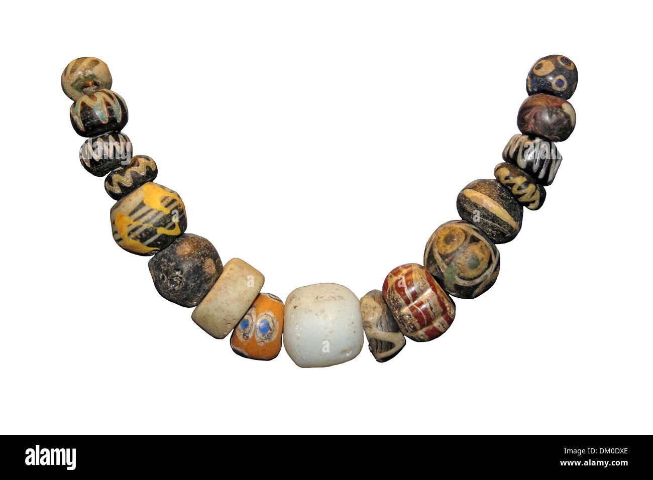 Alte Glas Perlen Halskette Stockbild
