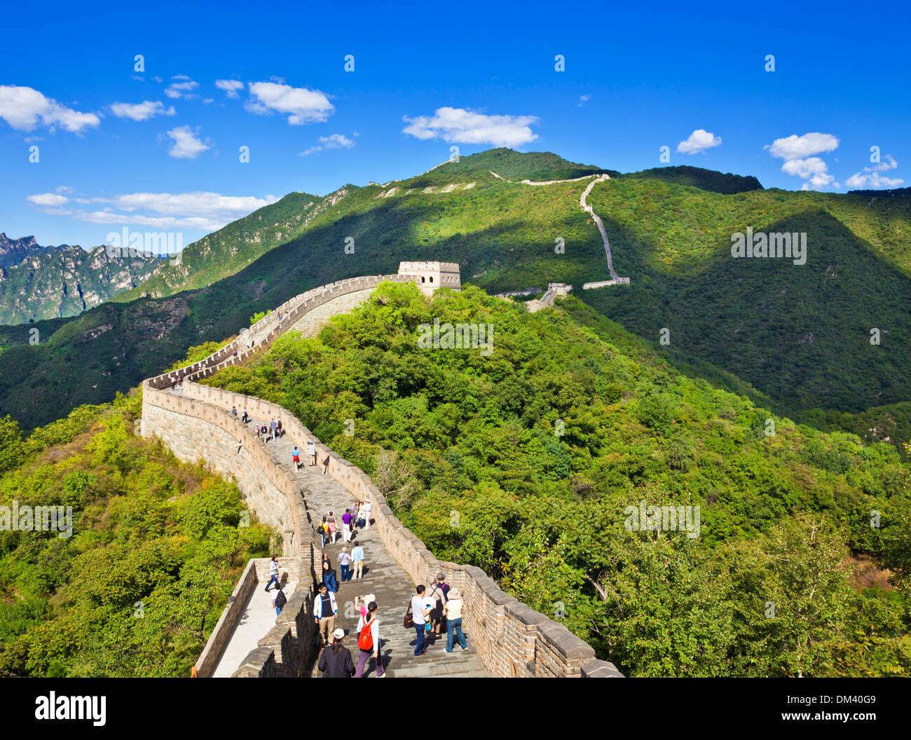 Touristen besuchen die Great Wall Of China, UNESCO-Weltkulturerbe, Mutianyu, Bezirk von Peking, China, Asien Stockbild