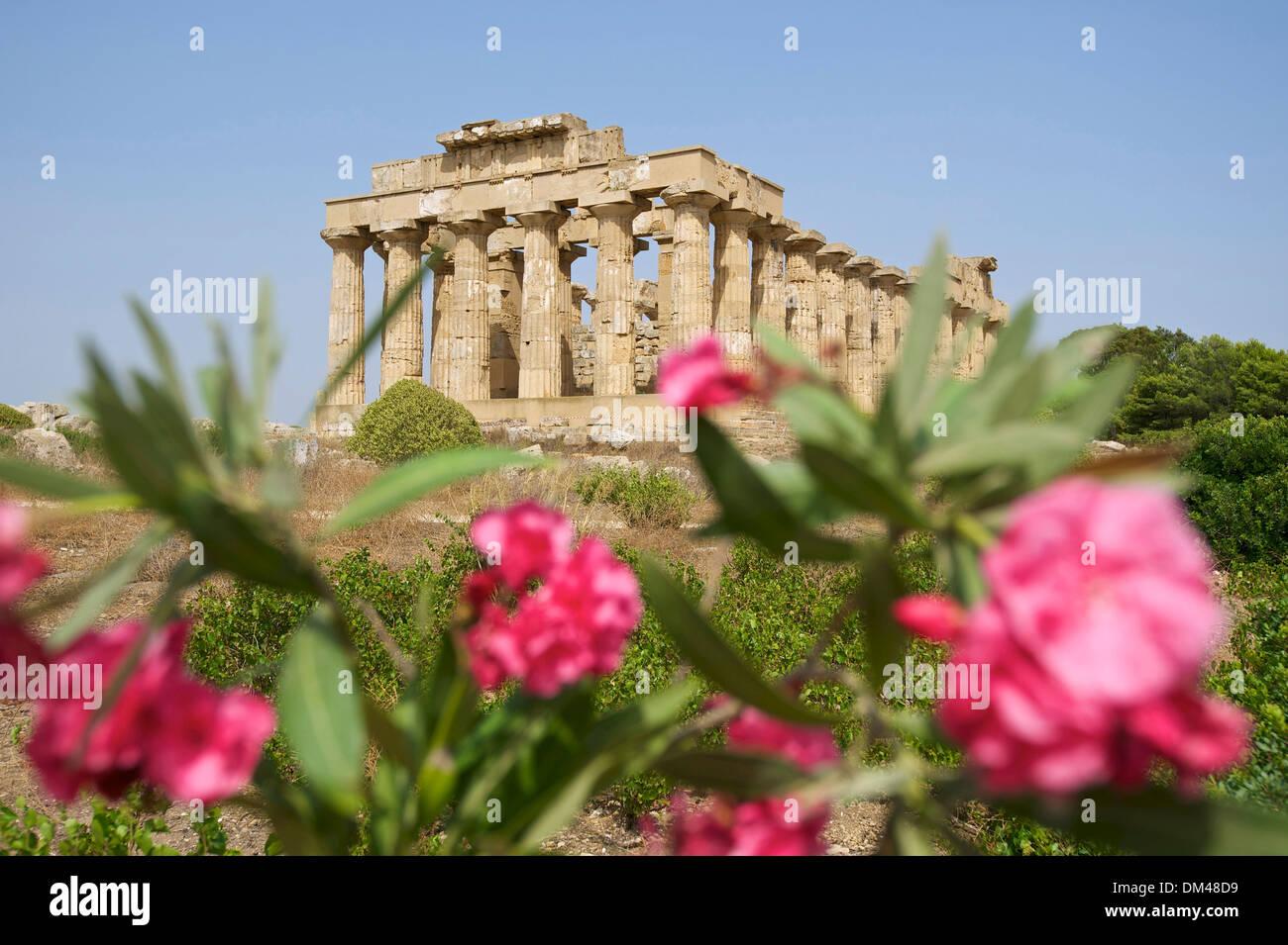 Italien-Sizilien-Süd-Italien-Europa Insel Tempel der Hera Selinunt Tempelarchitektur Baugeschichte historische Gebäude Stockbild