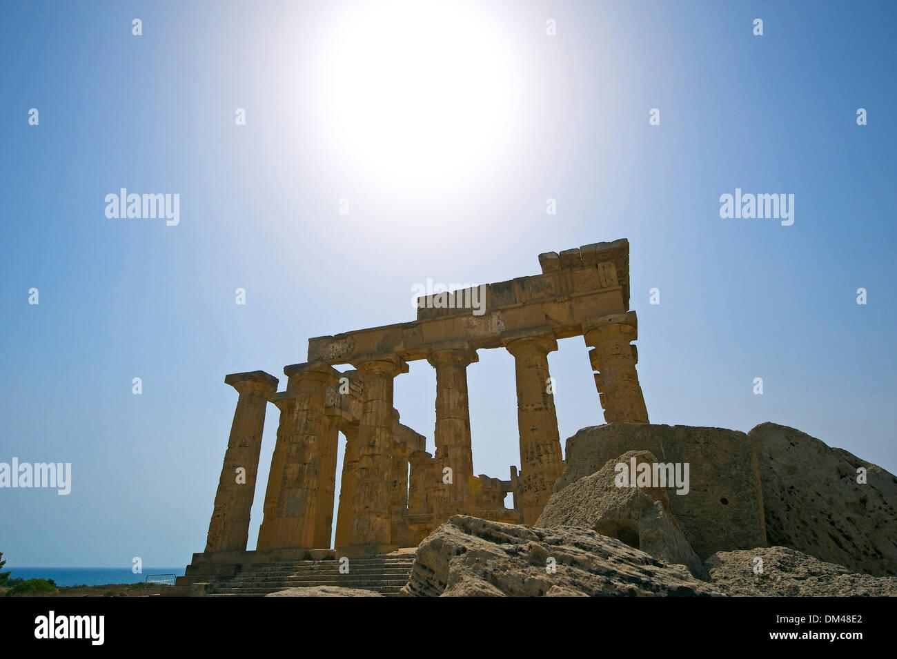 Sizilien-Italien-Süd-Italien-Europa Insel Tempel der Hera Selinunt Tempelarchitektur Baugeschichte historische Gebäude Stockbild