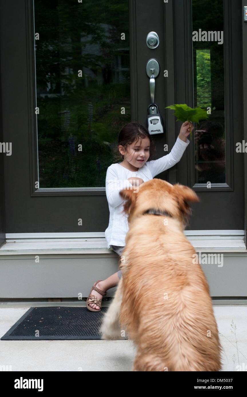 Mädchen spielen mit Hund Stockbild
