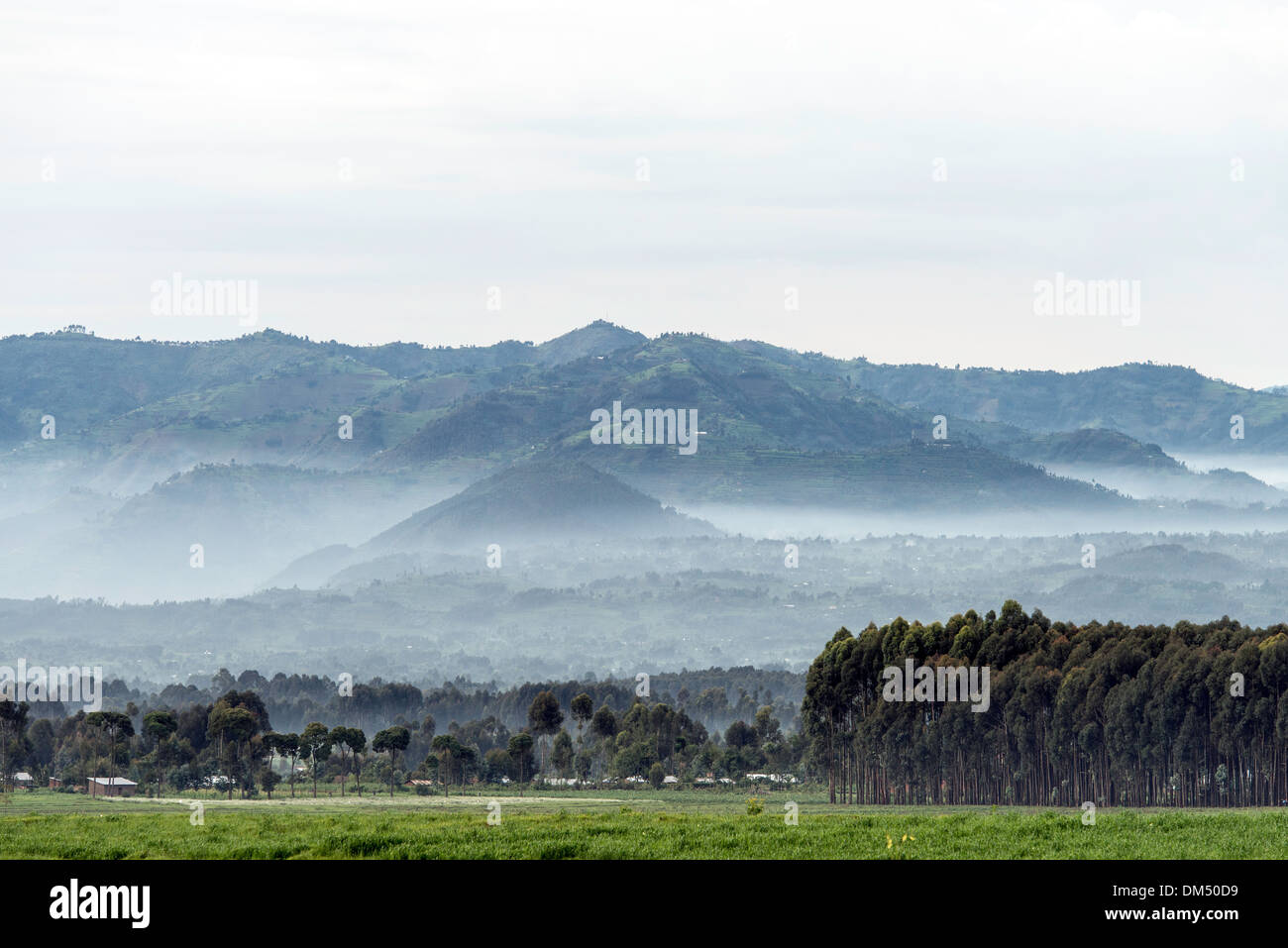 Landschaften-Volcanoes-Nationalpark Ruanda Afrika Stockbild