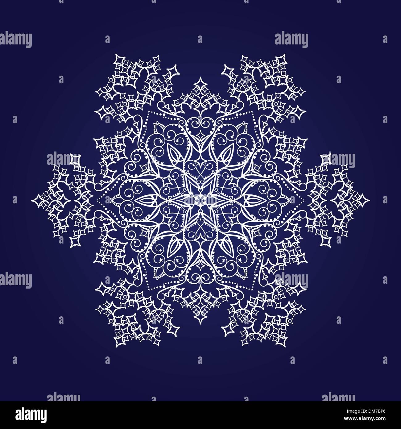 Detaillierten Schneeflocke auf dunkelblauem Hintergrund Stockbild