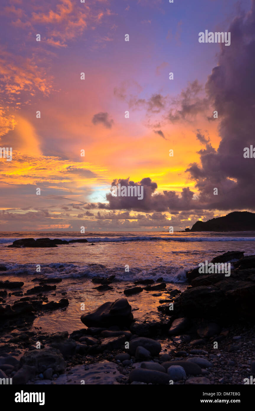 Sonnenuntergang an der Playa Majagual, Rivas, Nicaragua, Mittelamerika Stockbild