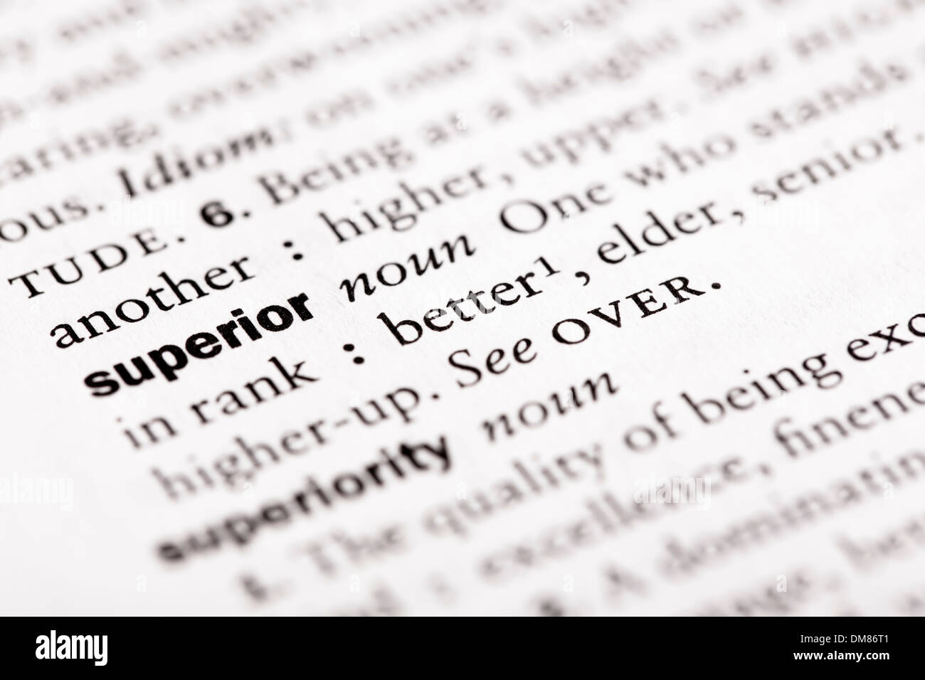 "Wörterbuch-Definition von ""Superior"" Stockbild"