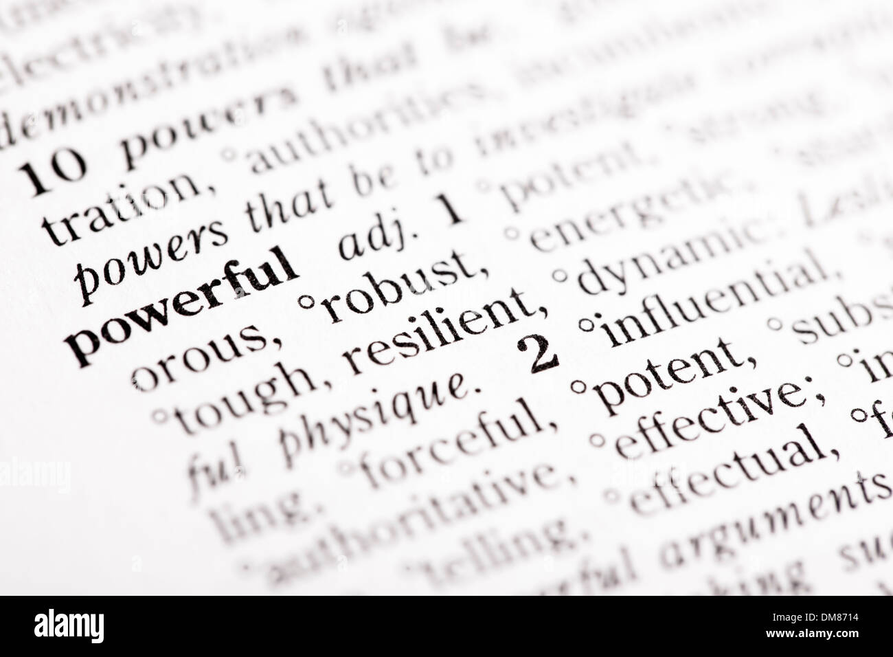 """Wörterbuch-Definition von """"Mächtig"""" Stockbild"""