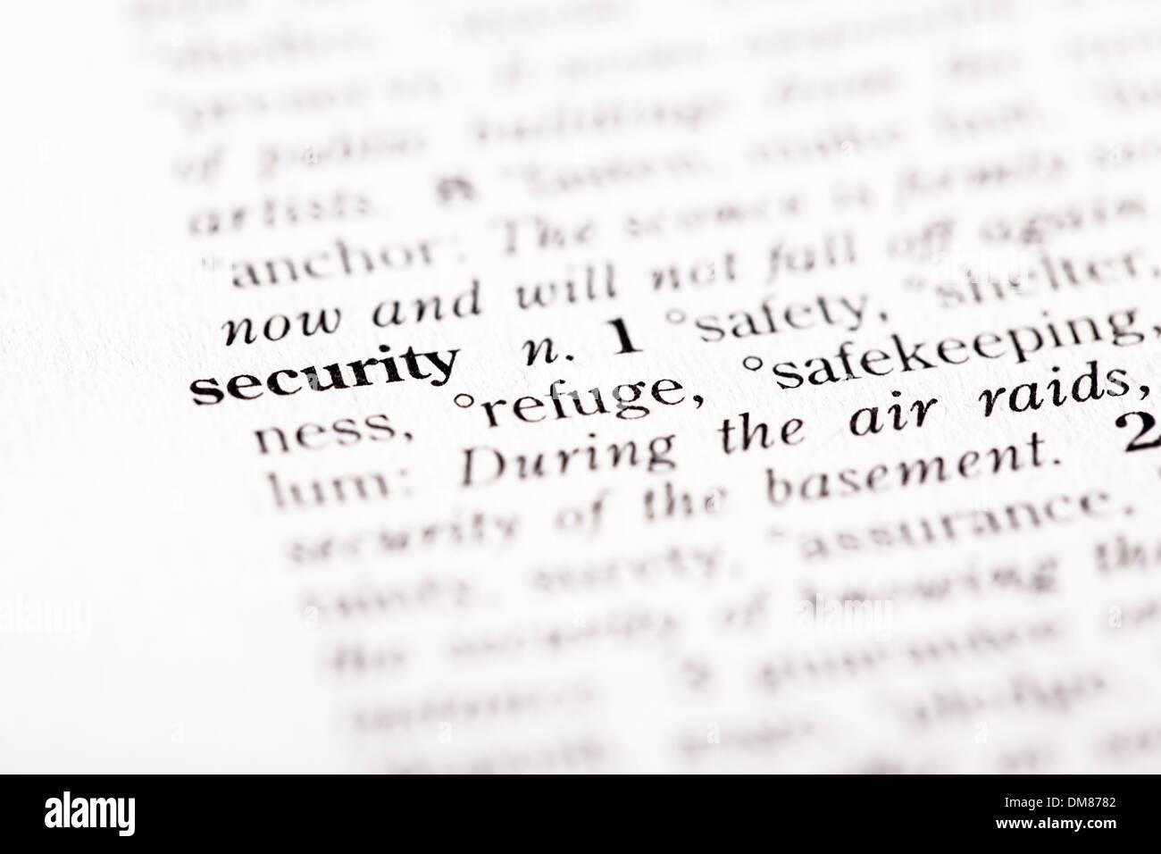 """Wörterbuch-Definition der """"Sicherheit"""" Stockbild"""