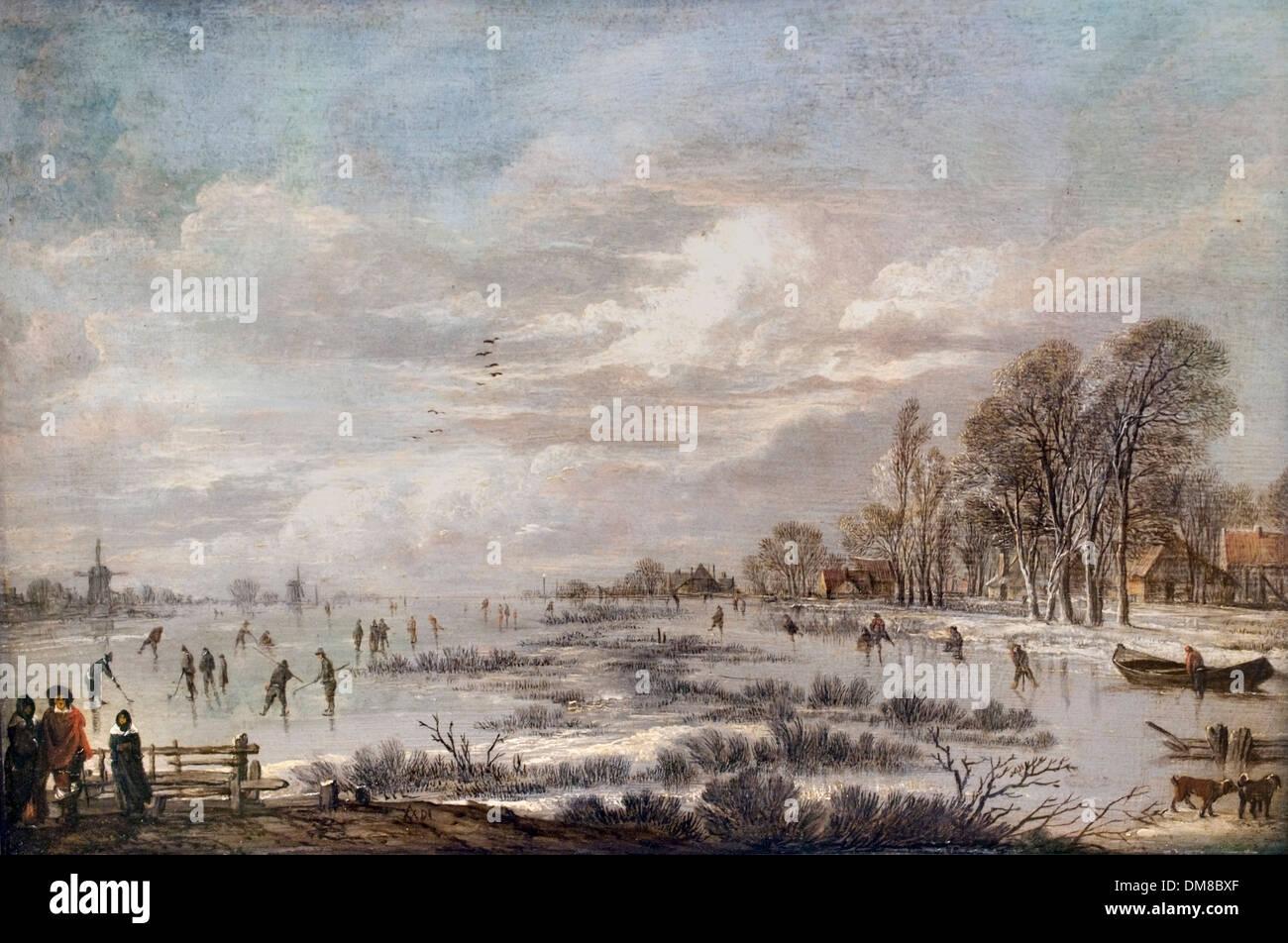Winterlandschaft von Aert van der Neer 1603-1677 Dutch Niederlande Stockbild
