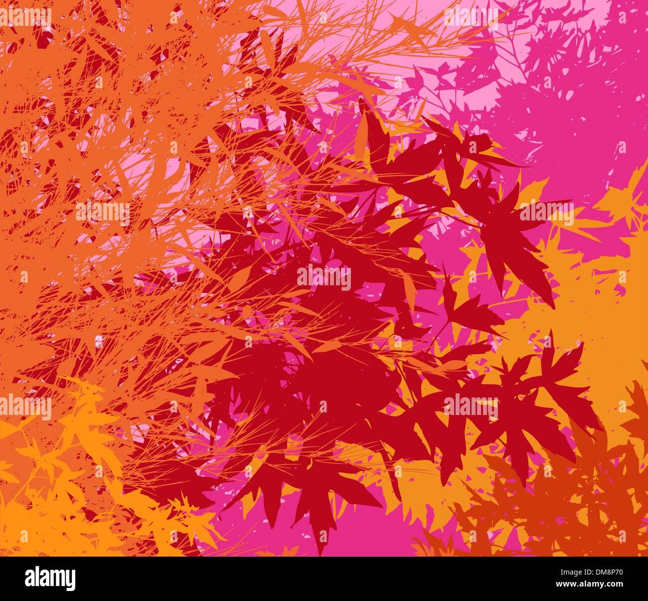 Bunte Landschaft des Laubes - Pop-Vektorgrafik - sind die verschiedenen Grafiken auf separaten Layern, so können sie leicht Stockbild