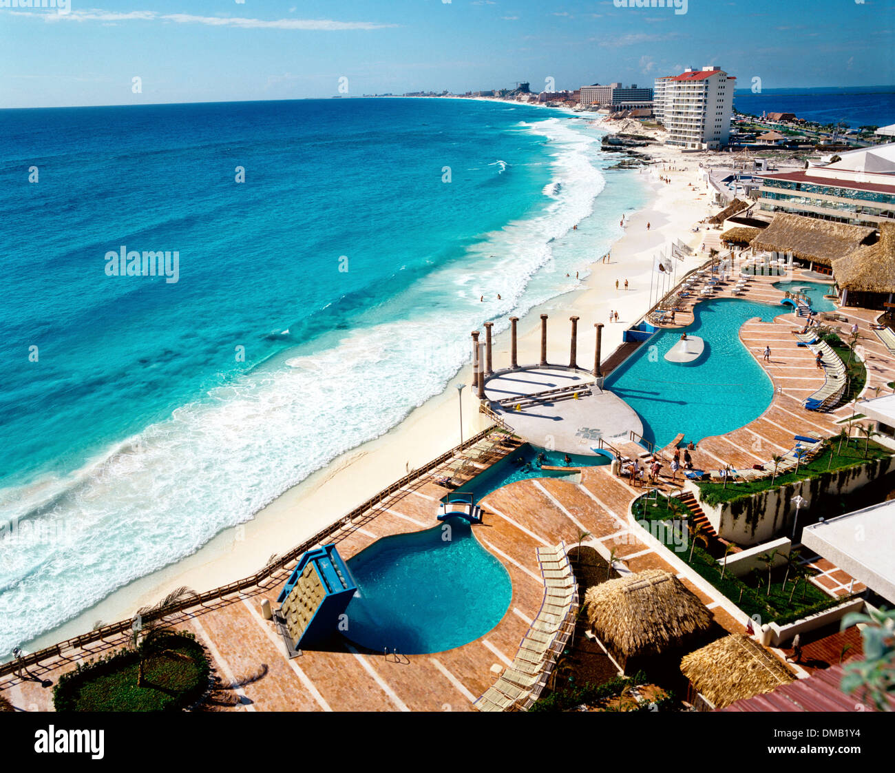 Ansicht des Sheraton Beach Hotel, Ixtapa-Zihuatanejo, Guerrero, Mexiko Stockbild
