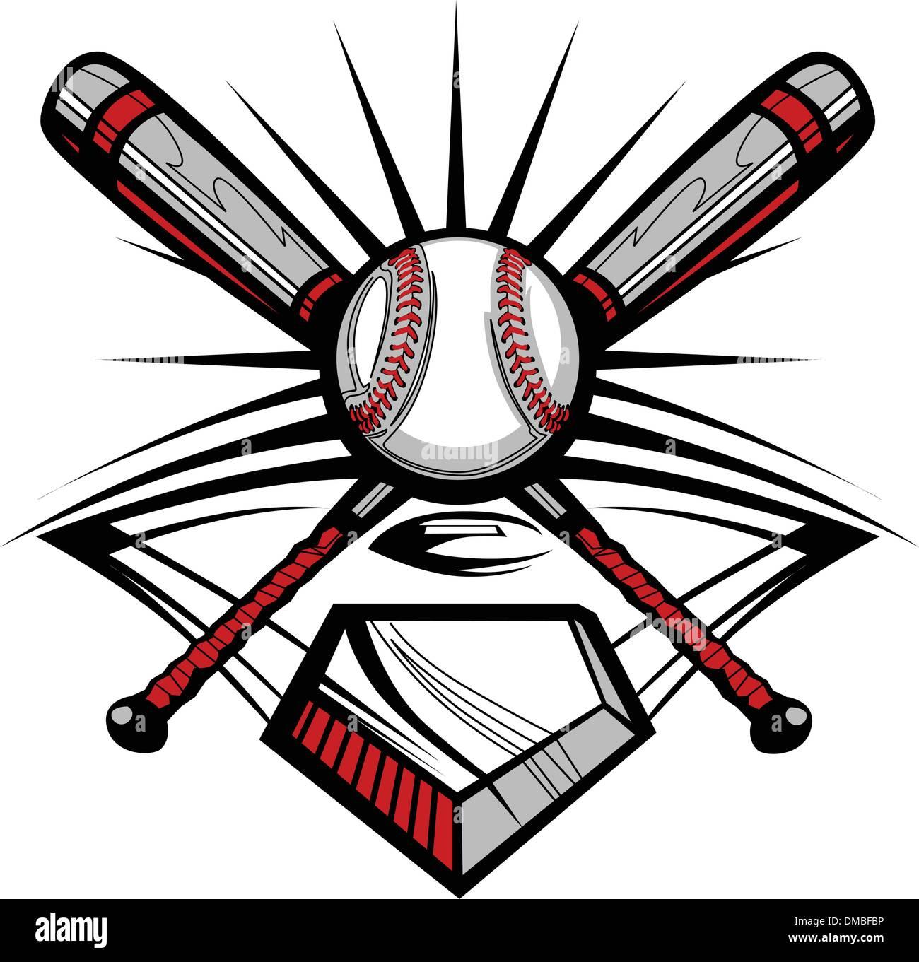Baseball oder Softball Schläger mit Ball Vektor Bild Vorlage ...