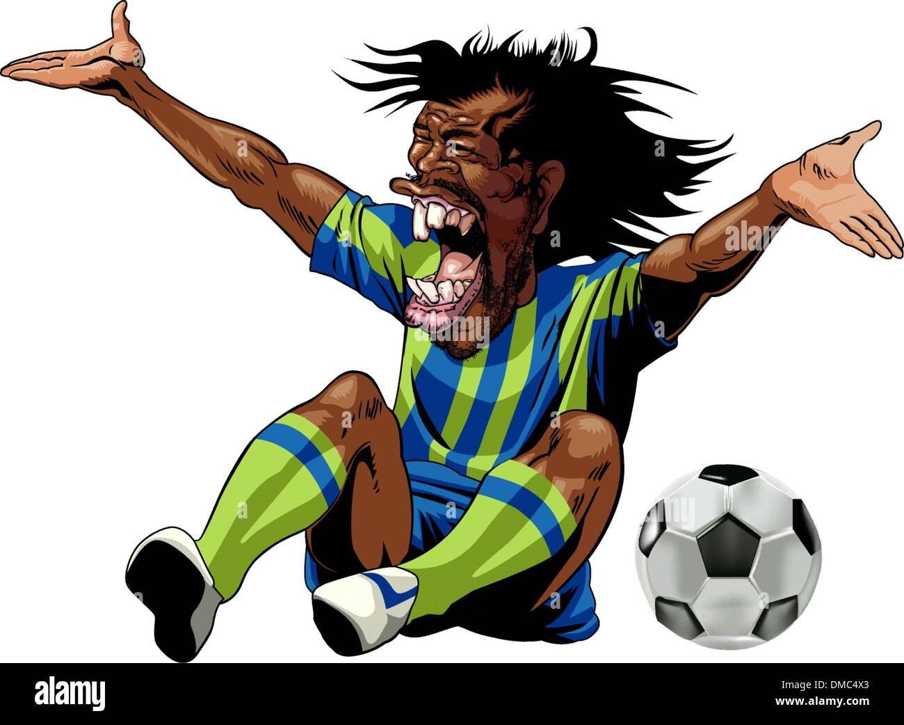 Wütend Fußballspieler nach Foul Stockbild