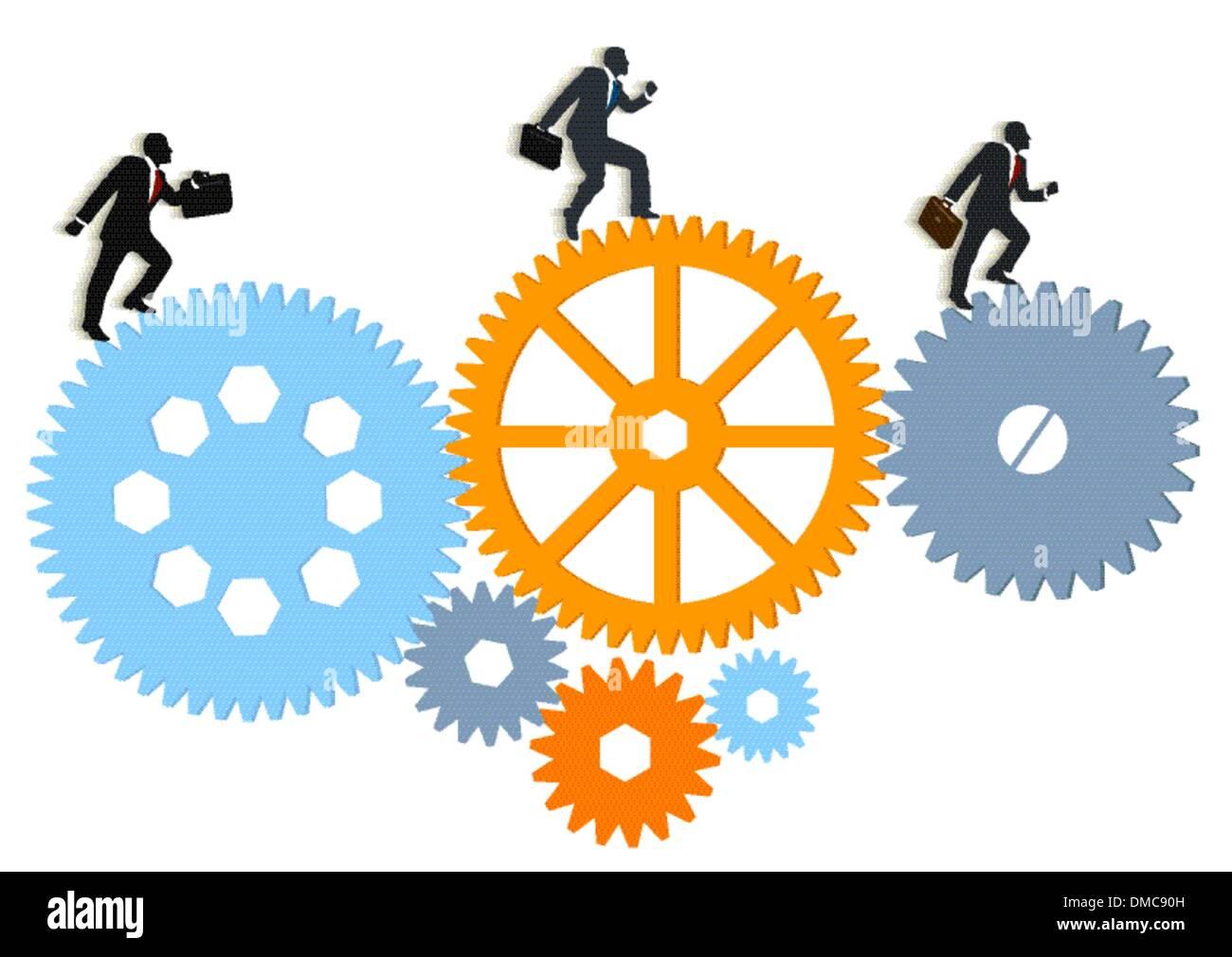 eine Gruppe von Managern in Bewegung Stockbild