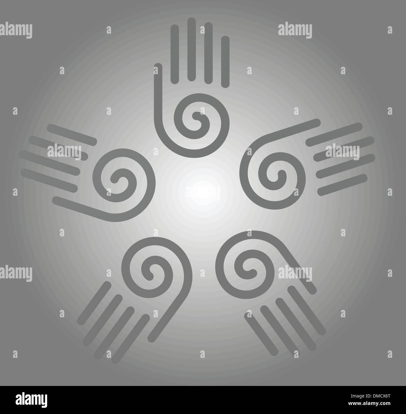 Illustration der Handabdrücke Stockbild