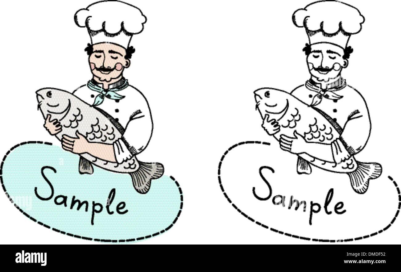 Koch Mit Fisch Logo Vorlage Vektor Abbildung Bild 64221502 Alamy
