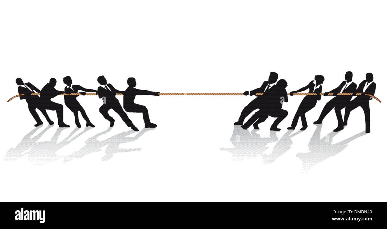 Geschäftsleute beim Tauziehen-Wettbewerb Stockbild