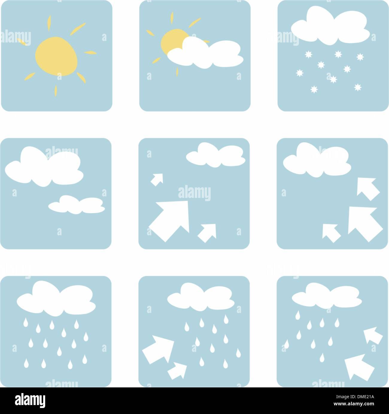 Wetter Icons Vektor Illustration Clipart Isoliert Auf Weißem