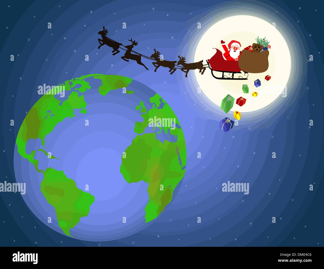santa sleigh fly stockfotos santa sleigh fly bilder alamy. Black Bedroom Furniture Sets. Home Design Ideas