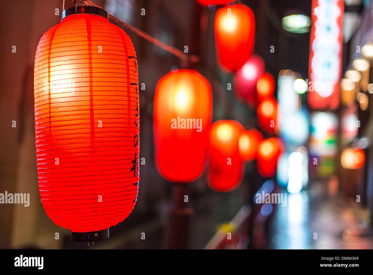 Laternen in Susukino Bezirk von Sapporo, Japan. Stockbild